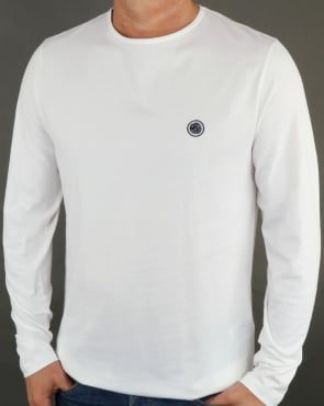 Pretty Green Mitchell Long Sleeve T Shirt White/Navy