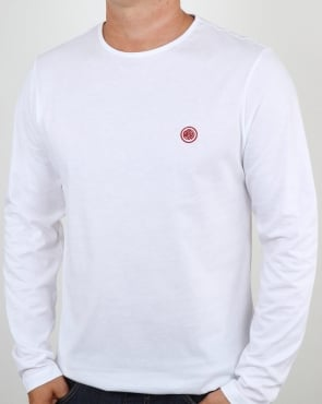 Pretty Green Mitchell Long Sleeve T Shirt White