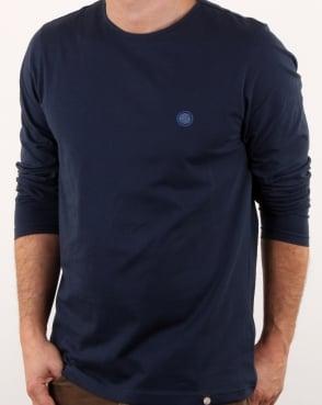 Pretty Green Mitchell Ls T Shirt Navy