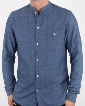 Pretty Green Nightingale Collarless Shirt Indigo