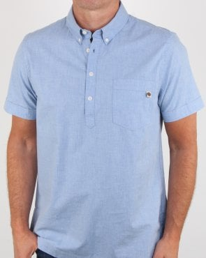 Pretty Green Overhead Short Sleeve Shirt Blue
