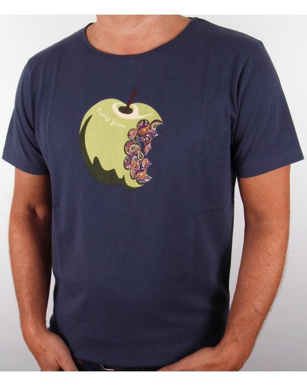 Pretty Green Paisley Apple T Shirt Navy Paisley Crew