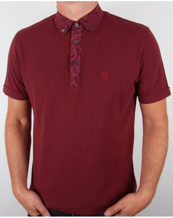 Pretty Green Paisley Collar Polo Shirt Dark Red