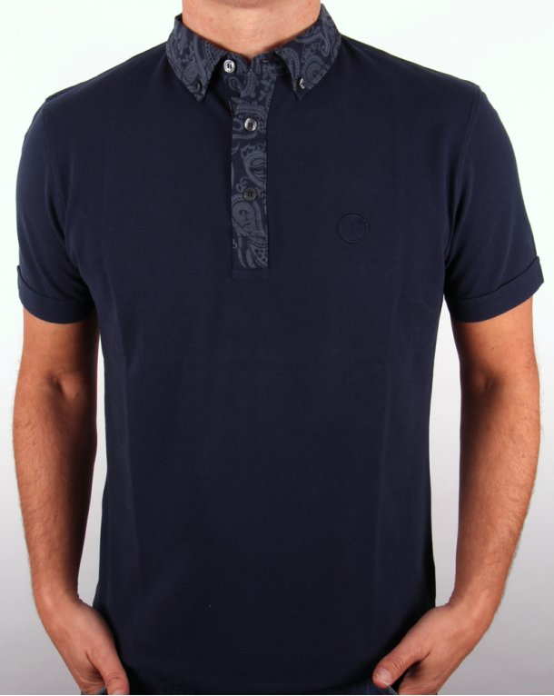 Pretty Green Paisley Collar Polo Shirt Navy