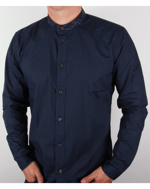Pretty Green Paisley Collarless Shirt Navy Blue