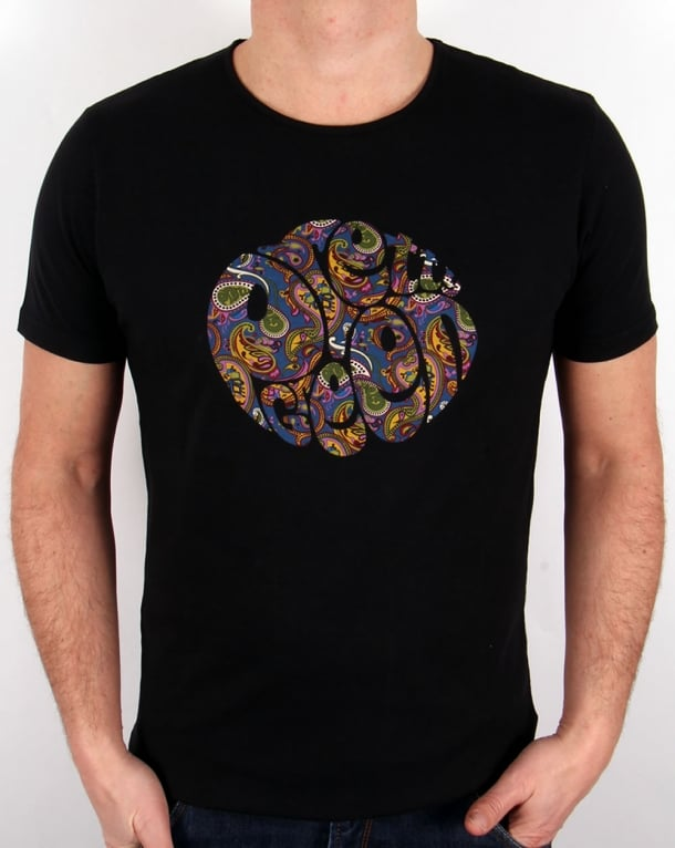 Pretty Green Paisley Logo T-shirt Black