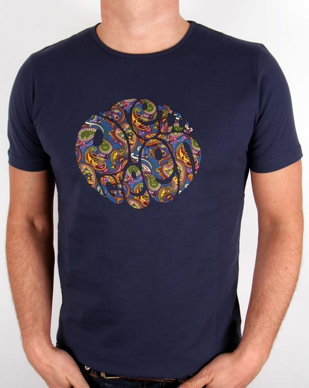 Pretty Green Paisley Logo T-shirt Navy