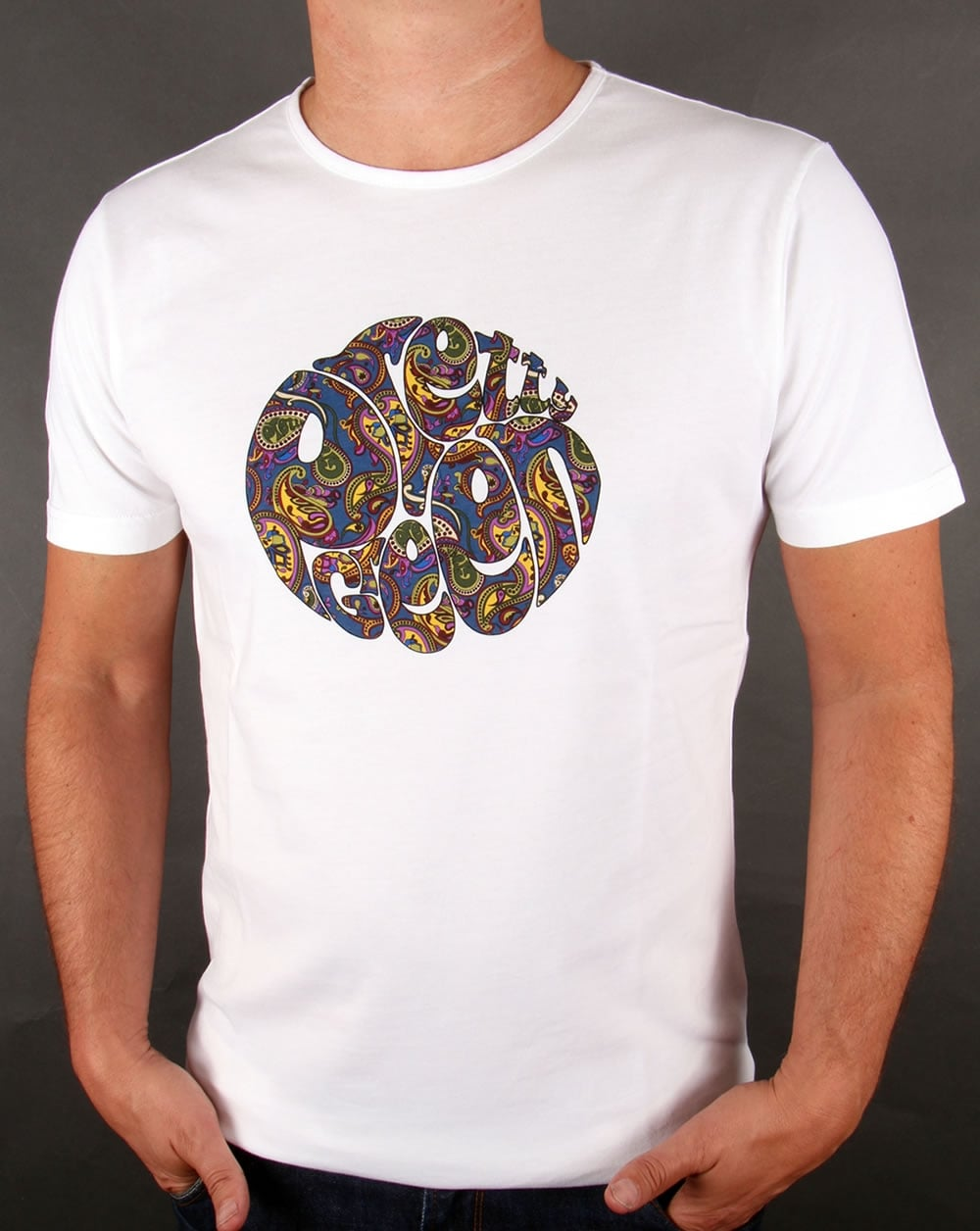 Pretty green paisley logo t shirt white tee mens sale for T shirts with logos