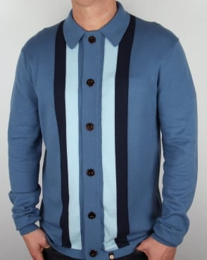 Pretty Green Parlington Knitted Shirt Mid Blue