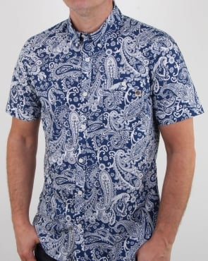 Pretty Green Payton Paisley Shirt Navy