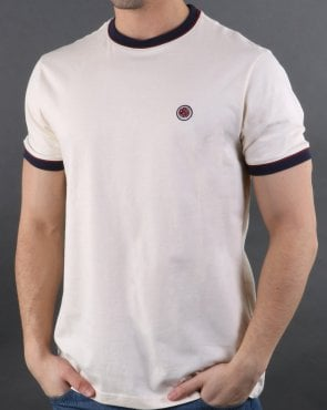 Pretty Green Piping Tipped T-shirt Off White