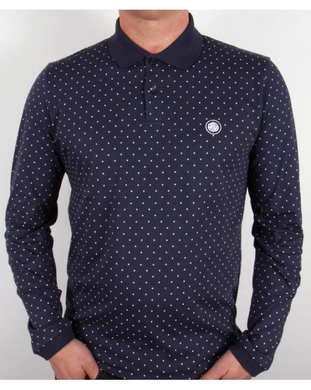 Pretty Green Polka Dot L/s Polo Shirt Navy