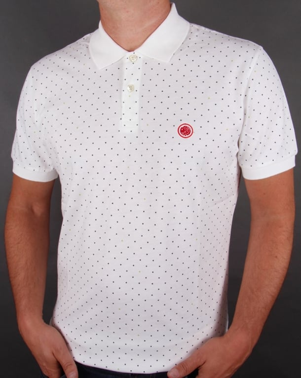 Pretty Green Polka Dot Polo Shirt White/Navy