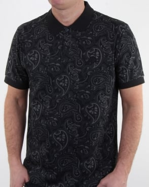 Pretty Green Ranson Paisley Polo Shirt Black Paisley
