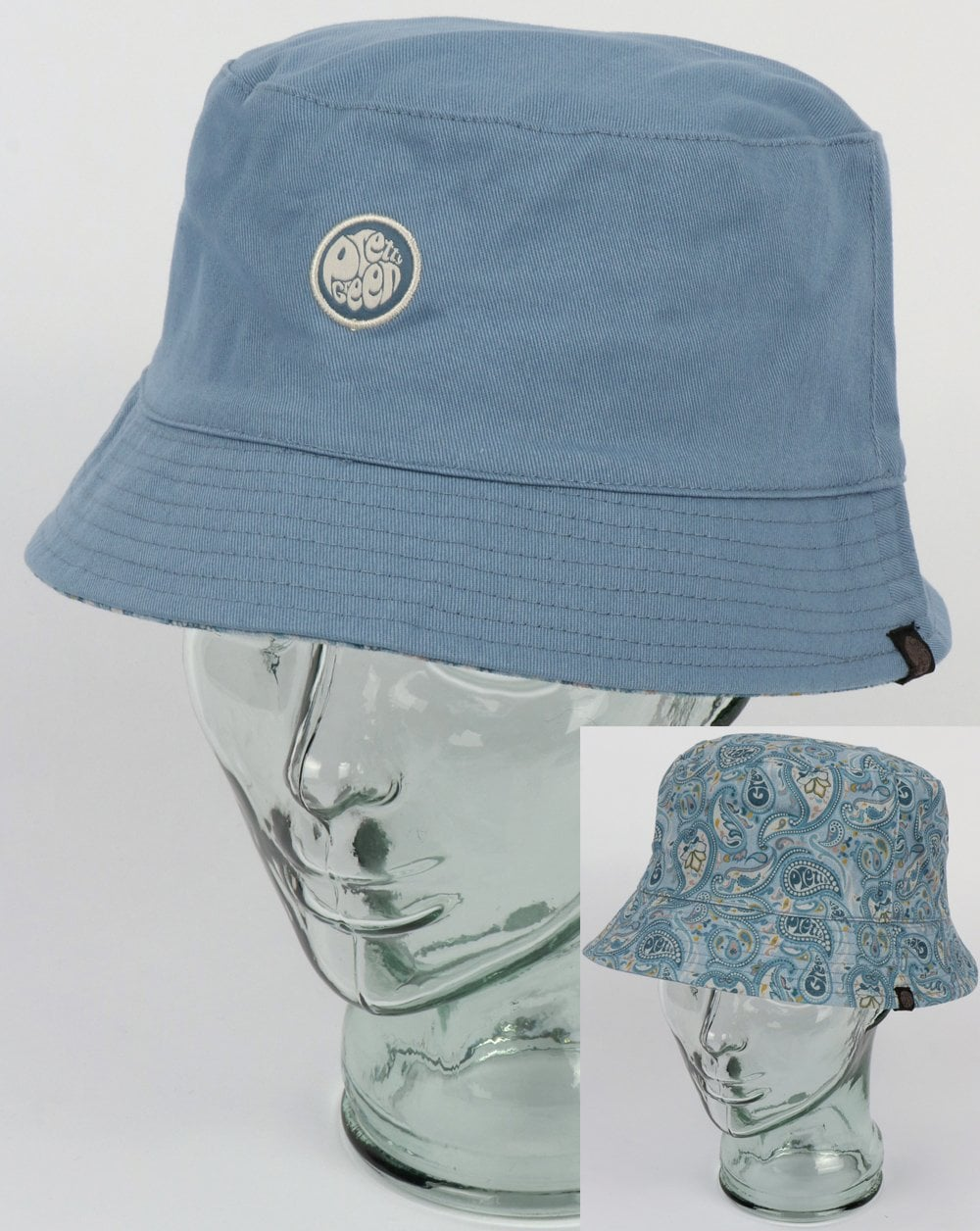 439538509aa Pretty Green Pretty Green Reversible Paisley Print Bucket Hat Blue