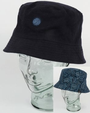 Pretty Green Reversible Tonal Paisley Bucket Hat Navy