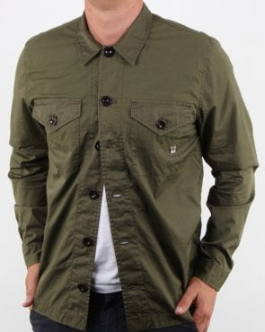 Pretty Green Robinia Long Sleeve Overshirt Khaki