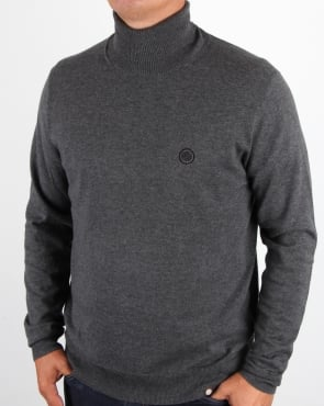 Pretty Green Roll Neck Jumper Dark Grey