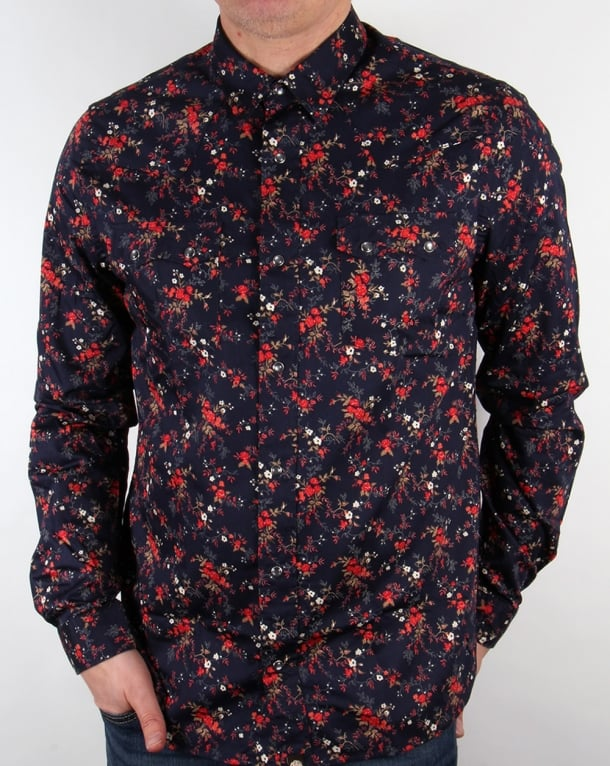 Pretty Green Ryecroft Western Shirt Navy