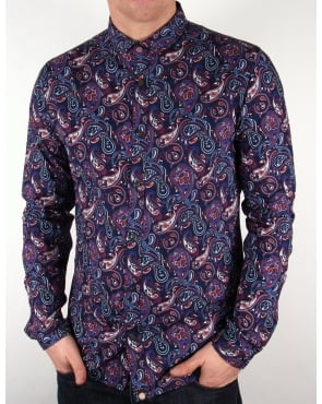 Pretty Green Sefton Paisley Shirt Navy