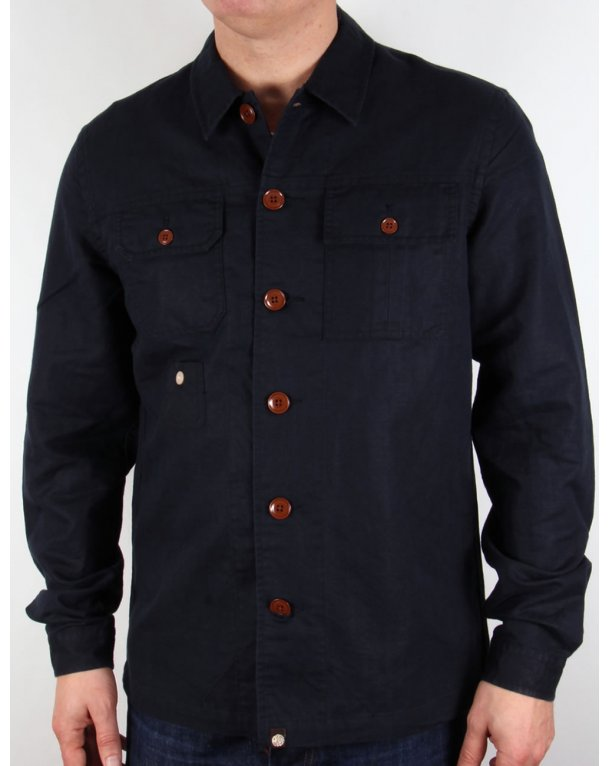 Pretty Green Stamford Over Shirt Navy Blue