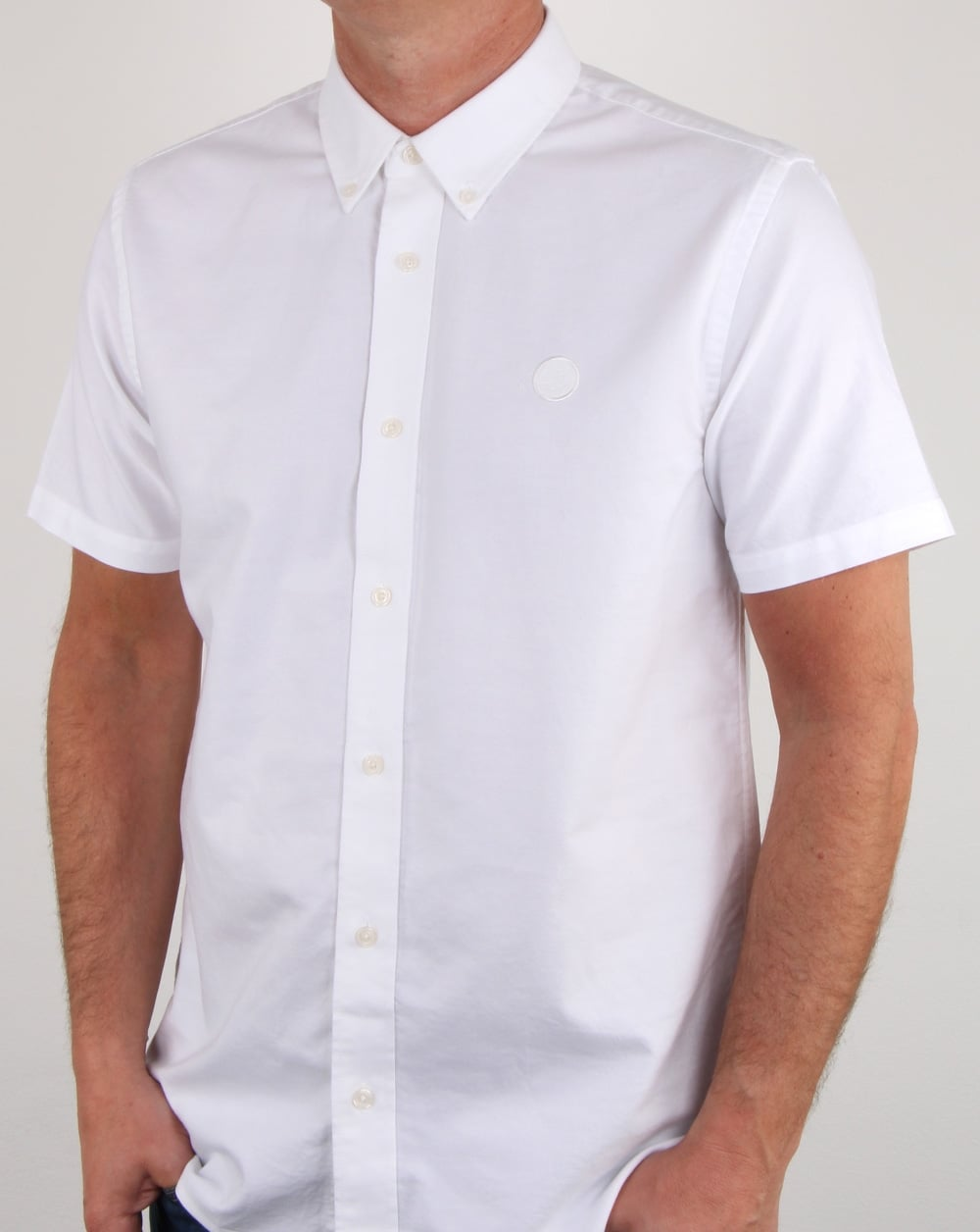 813c20012bd3 Pretty Green Oxford Short Sleeved Shirt in White | 80s Casual Classics