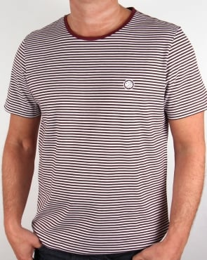 Pretty Green Striped Feeder T-shirt Burgundy