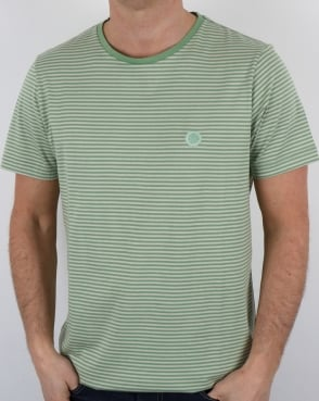 Pretty Green Striped Feeder T-shirt Light Green
