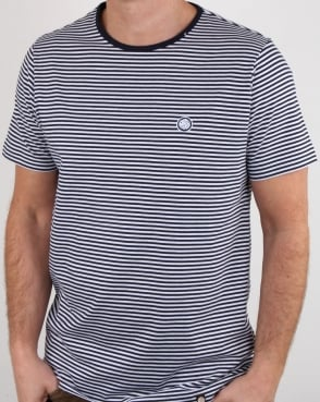 Pretty Green Striped Feeder T Shirt Navy