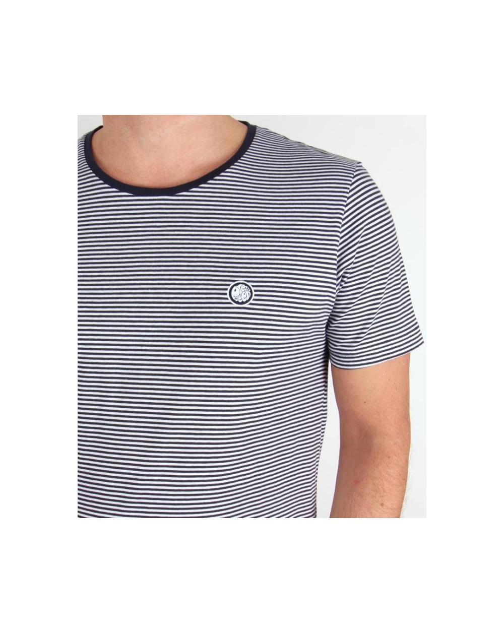 80cc15c375b43 Pretty Green Striped Feeder T-shirt Navy white