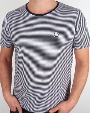 Pretty Green Striped Feeder T-shirt Navy/white