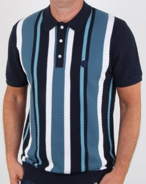 Pretty Green Striped Knitted Polo Navy