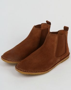 Pretty Green Suede Chelsea Boots Dark Tan
