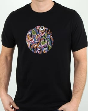 Pretty Green Thornley Paisley Logo T Shirt Black Vintage