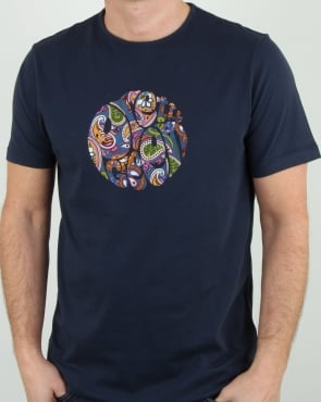 Pretty Green Thornley Paisley Logo T Shirt Navy Vintage
