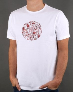 Pretty Green Thornley Paisley Logo T Shirt White/red