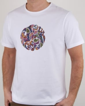 Pretty Green Thornley Paisley Logo T Shirt White Vintage