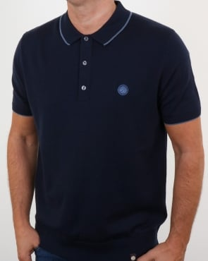 Pretty Green Tilson Knitted Polo Shirt Navy