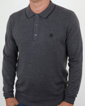 Pretty Green Tilson Long Sleeve Knitted Polo Dark Grey Marl