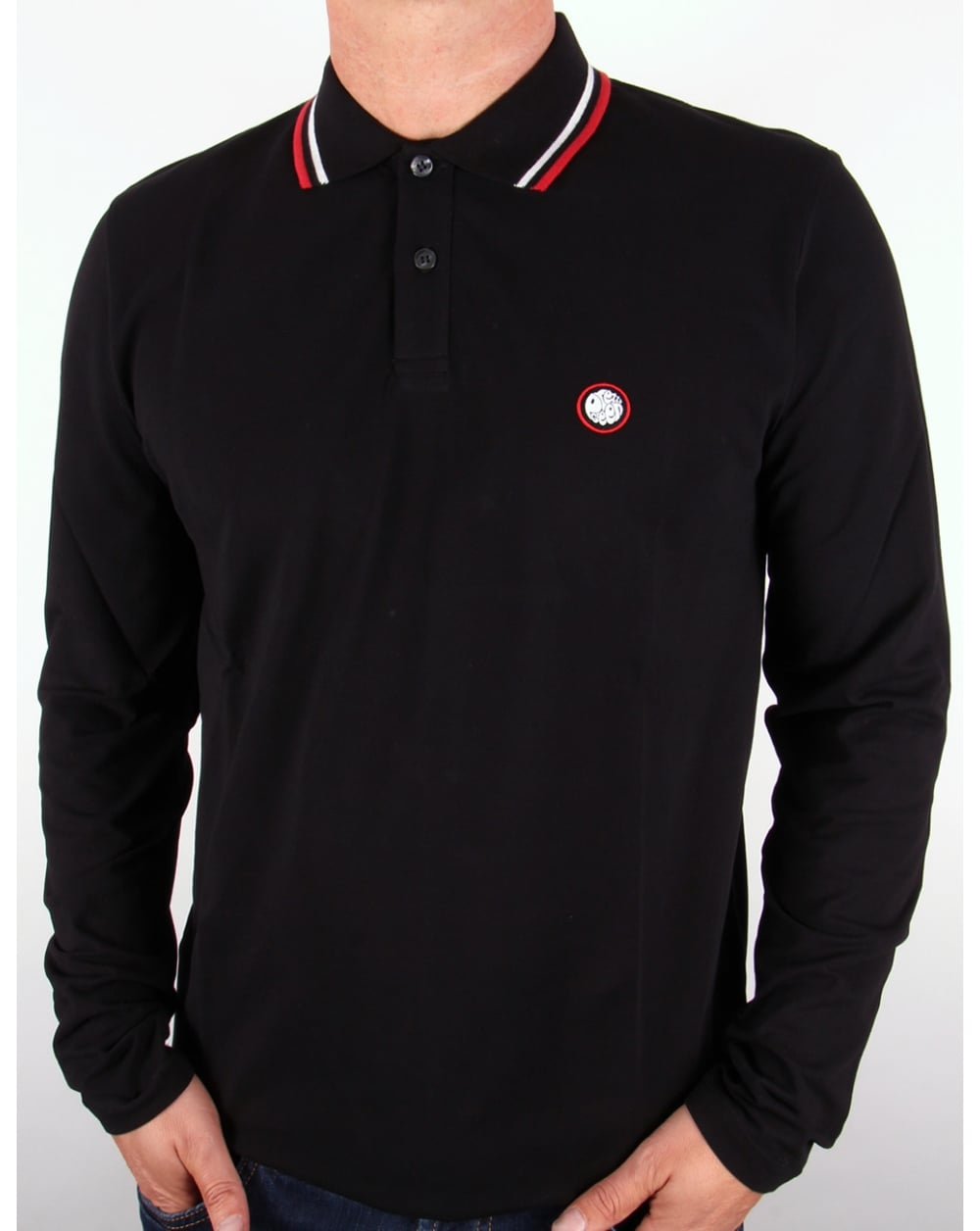 Pretty green tipped long sleeve polo shirt black pique for Long sleeve fitted polo shirts
