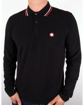 Pretty Green Tipped Long Sleeve Polo Shirt Black