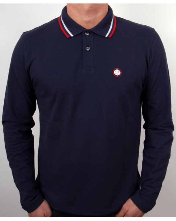 Pretty Green Tipped Long Sleeve Polo Shirt Navy