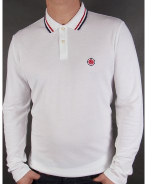 Pretty Green Tipped Long Sleeve Polo Shirt White