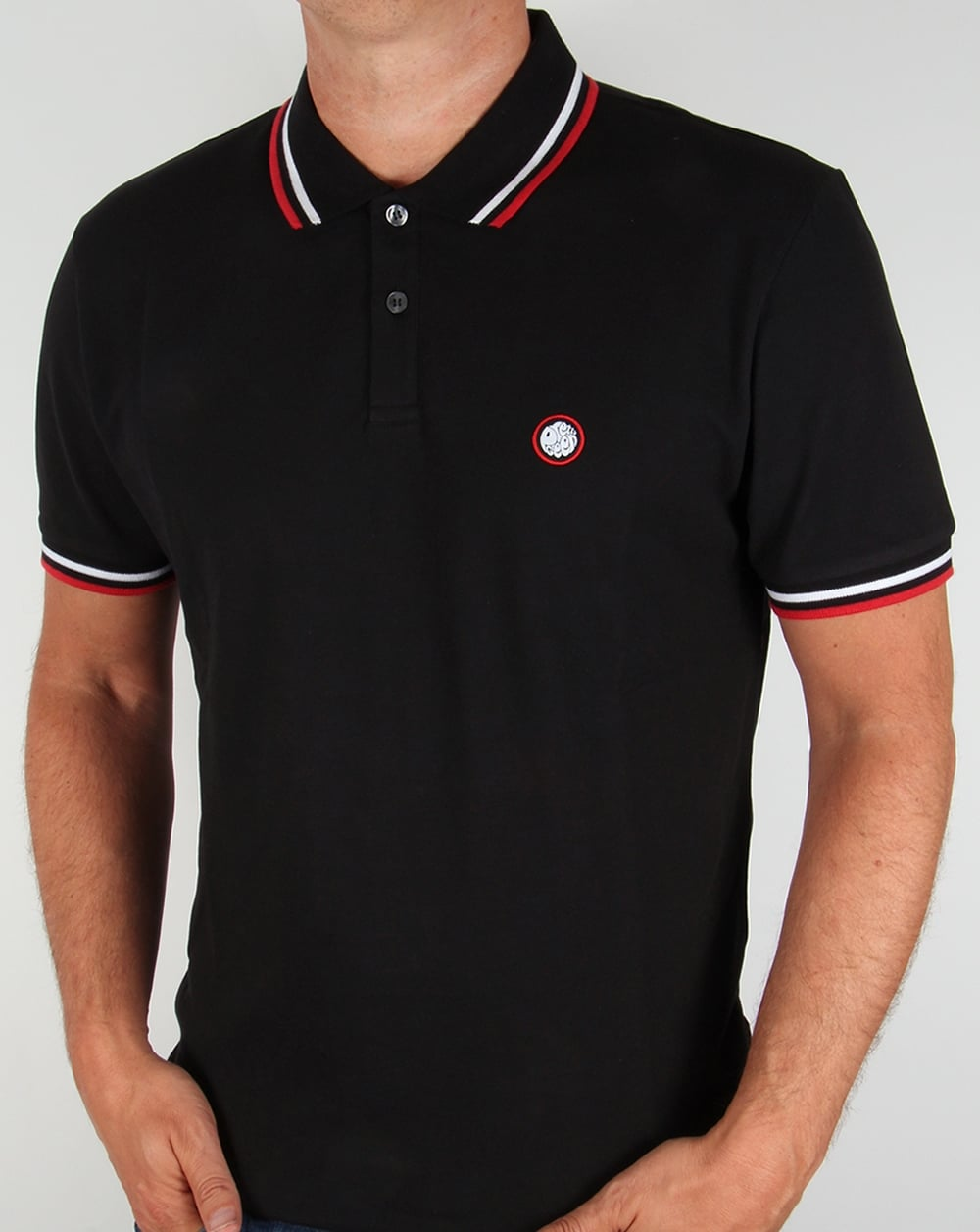 Pretty green polo black tipped shirt white red 80s for Black polo shirt images