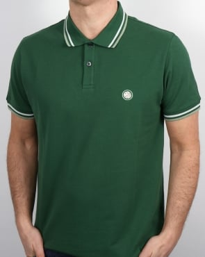 Pretty Green Tipped Polo Shirt Dark Green