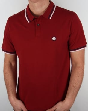 Pretty Green Tipped Polo Shirt Dark Red