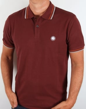 Pretty Green Tipped Polo Shirt Deep Burgundy
