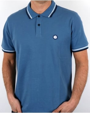 Pretty Green Tipped Polo Shirt Mid Blue
