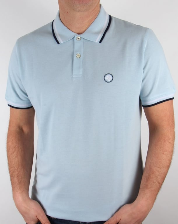 Pretty Green Tipped Polo Shirt Sky Blue