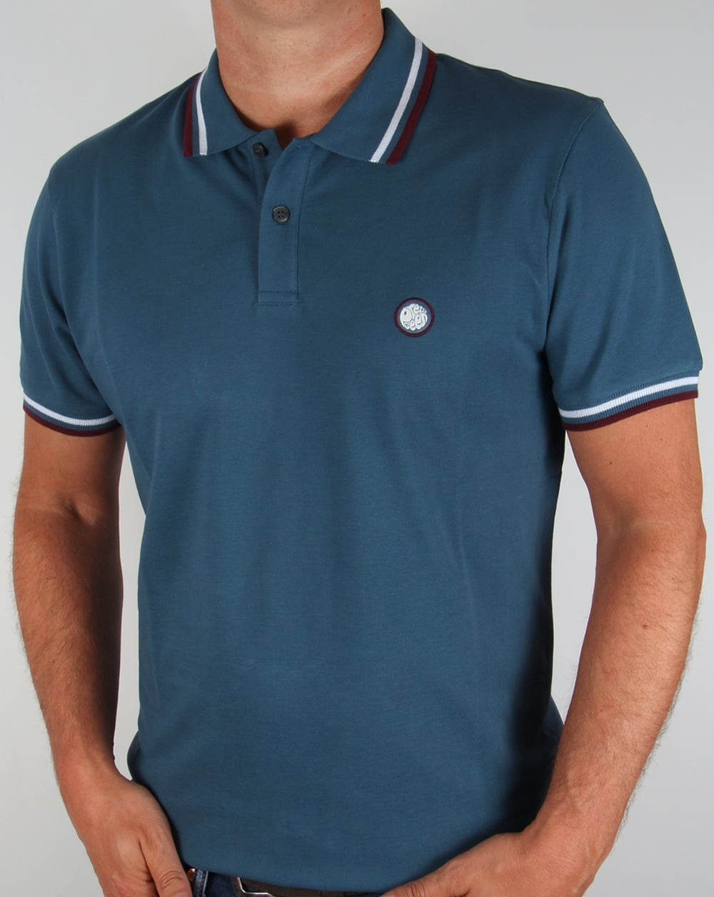 Pretty green tipped polo shirt teal blue pique cotton for Mens teal polo shirt